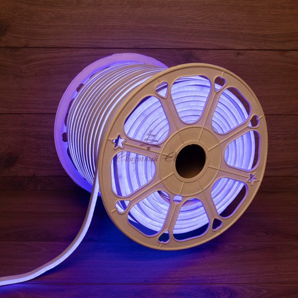 Гибкий неон LED 220V 8х16мм, кратность резки 1м, синий 1