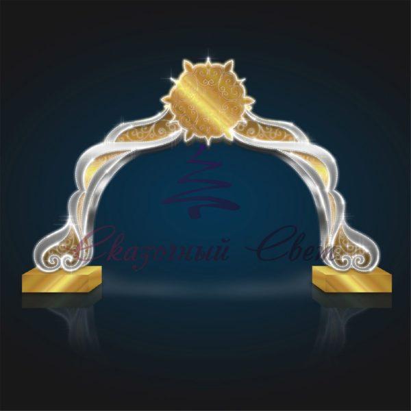 Новогодняя арка Серебро-Золото В 3,0 м х Ш 4,8 м х Г 1,4 м - AR 21 1