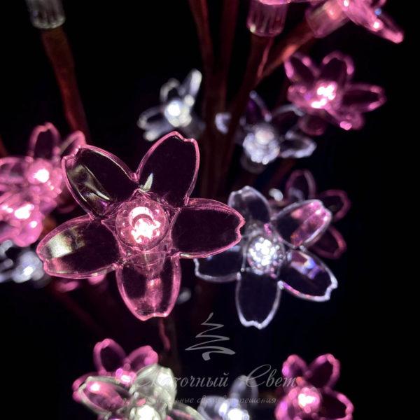 """""""Ветка Сакуры"""" на батарейках, прозрачные цветки длина 59 см, коричневый провод, 24 led, бело-розовый 2"""