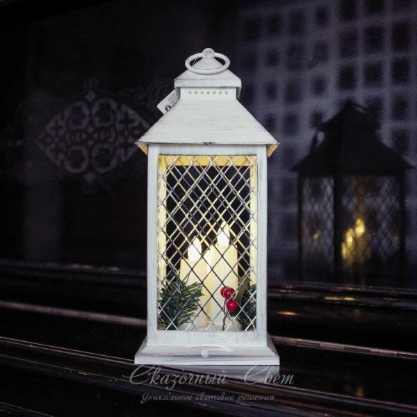 Светодиодный фонарь с светодиодными свечами 3 шт., теплый белый 2