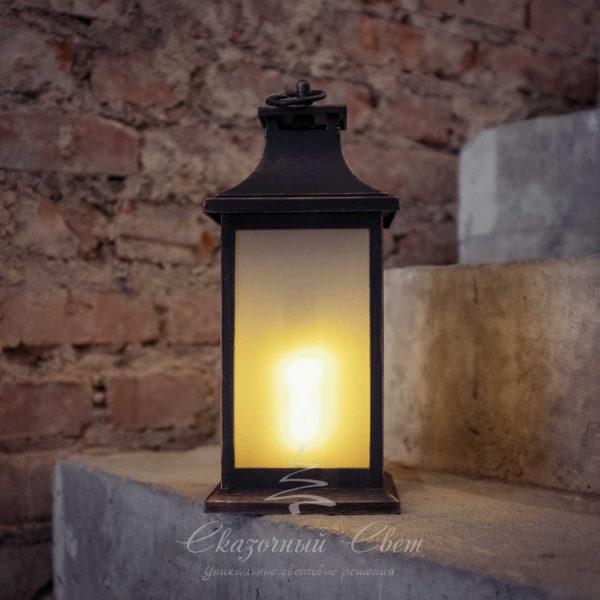 Светодиодный фонарь с LED-свечой, эффект пламени огня, желтый 2
