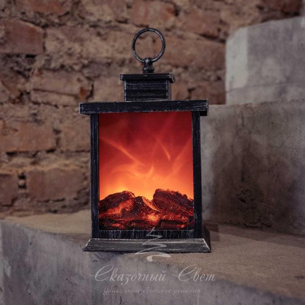 Светодиодный фонарь-камин с имитацией живого огня, теплый белый 2