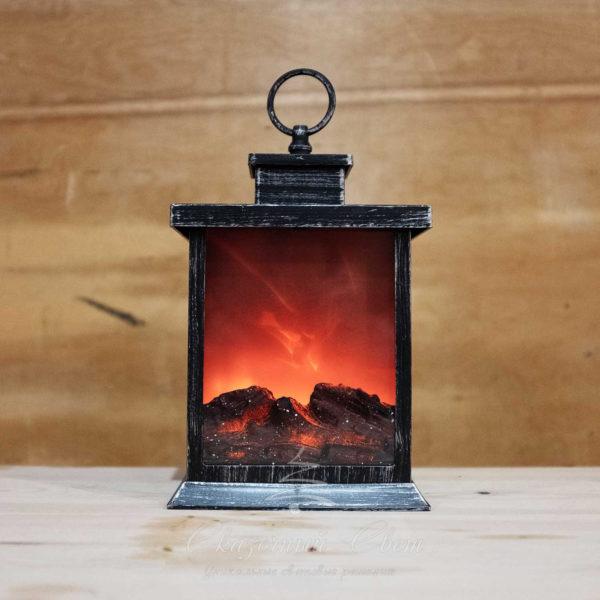 Светодиодный фонарь-камин с имитацией живого огня, теплый белый 1