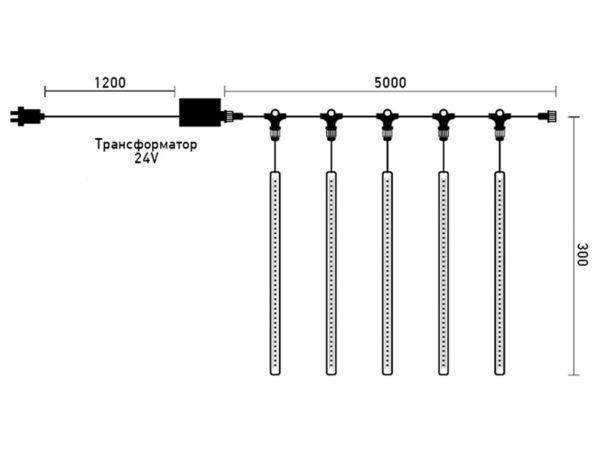 """Комплект """"Тающие сосульки"""" 5 шт. 5 x 0,3 м, черный провод, 160 led, белый, синий 3"""