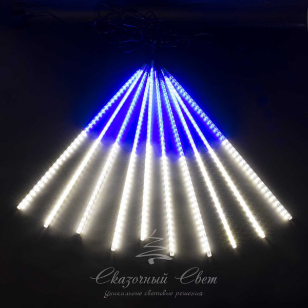 """Комплект """"Тающие сосульки"""" 5 шт. 5 x 0,3 м, черный провод, 160 led, белый, синий 1"""
