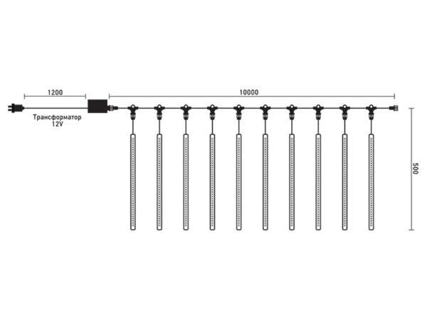 """Комплект """"Тающие сосульки"""" 10 шт. 10 x 0,5 м, черный провод, 720 led, теплый белый 2"""