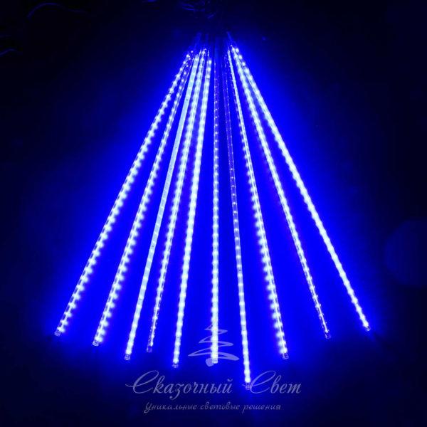 """Комплект """"Тающие сосульки"""" 10 шт. 10 x 0,8 м, черный провод, 840 led, синий 1"""
