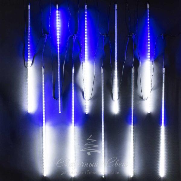 """Комплект """"Тающие сосульки"""" 10 шт. 10 x 0,8 м, черный провод, 840 led, белый, синий 2"""