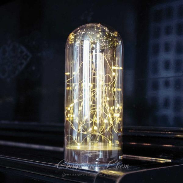 Светодиодная стеклянная колба 20 Led, тепл. белый (мерцание), теплый белый 1