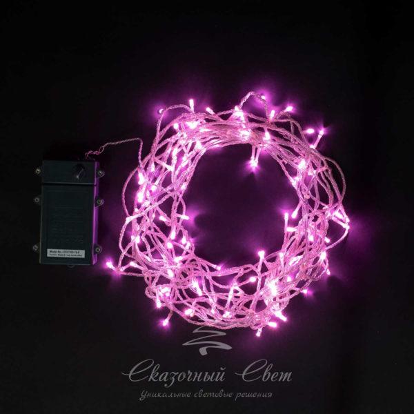 "Бахрома на батарейках 3м, 3 бат. ""D"", 4,5V, прозр. пр., 100 led, светло розовый 1"