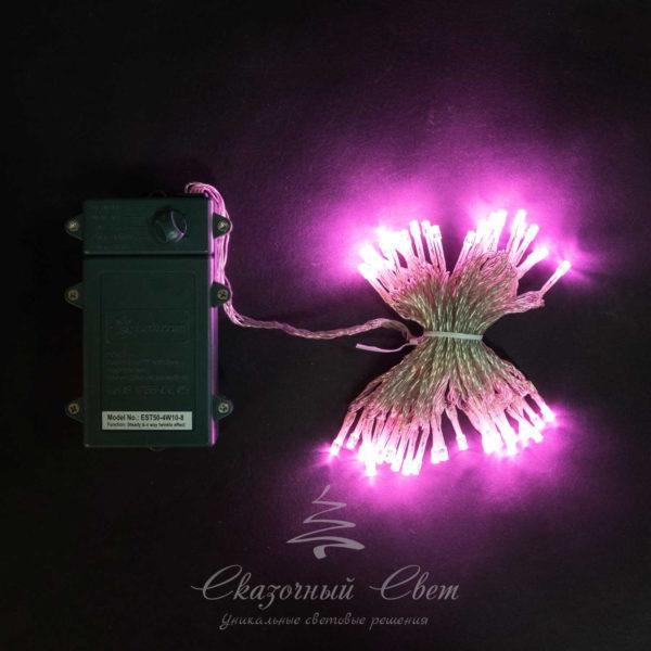 """Светодиодная нить 10 м, 4,5V, прозрачный провод, 100 led, 3 бат. """"D"""", светло розовый 1"""
