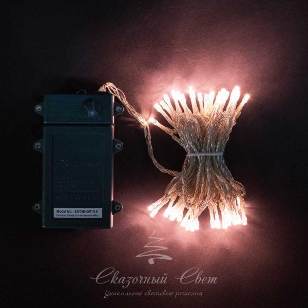 """Светодиодная нить 10 м, 4,5V, прозрачный провод, 100 led, 3 бат. """"D"""", хони голд 1"""