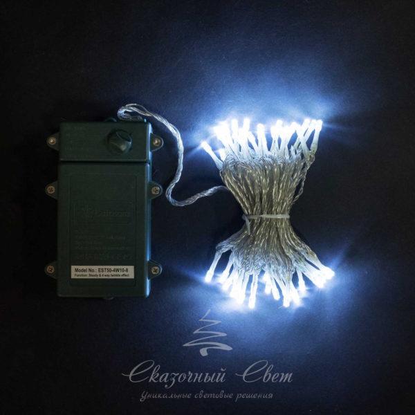 """Светодиодная нить 10 м, 4,5V, прозрачный провод, 100 led, 3 бат. """"D"""", белый 1"""