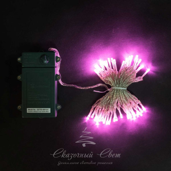 "Нить на батарейках 5 м, 3 бат. ""D"", 4,5V, прозрачный провод, 50 led, светло розовый 1"