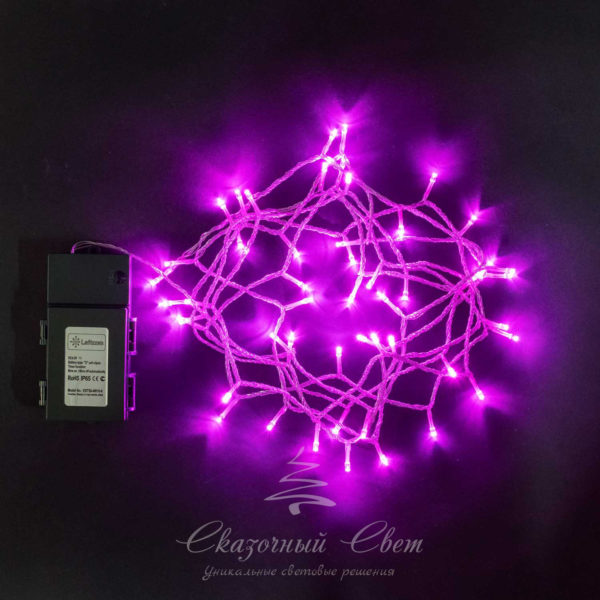 "Нить на батарейках 5 м, 3 бат. ""D"", 4,5V, прозрачный провод, 50 led, розовый 2"
