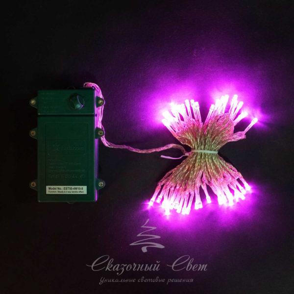 "Нить на батарейках 5 м, 3 бат. ""D"", 4,5V, прозрачный провод, 50 led, розовый 1"