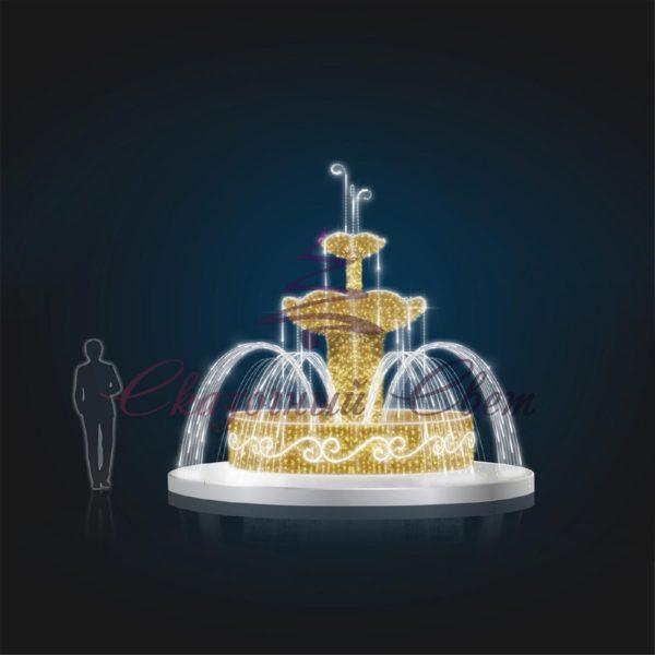 Фонтан Малый Золотой Динамика с мишурой В 3,6 м х Ш 4,5 м х Г 4,5 м - FON 103 1