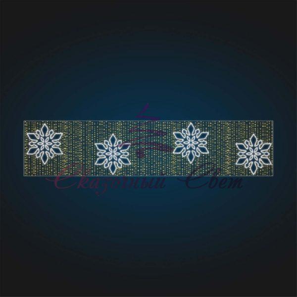 Перетяжка новогодняя со снежинками KT 09 - Ш 5,00 м х В 1,10 м 1