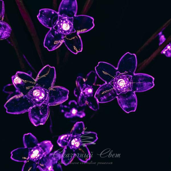 """""""Ветка Сакуры"""" на батарейках, прозрачные цветки длина 1 метр, коричневый провод, 24 led, пурпурный 2"""
