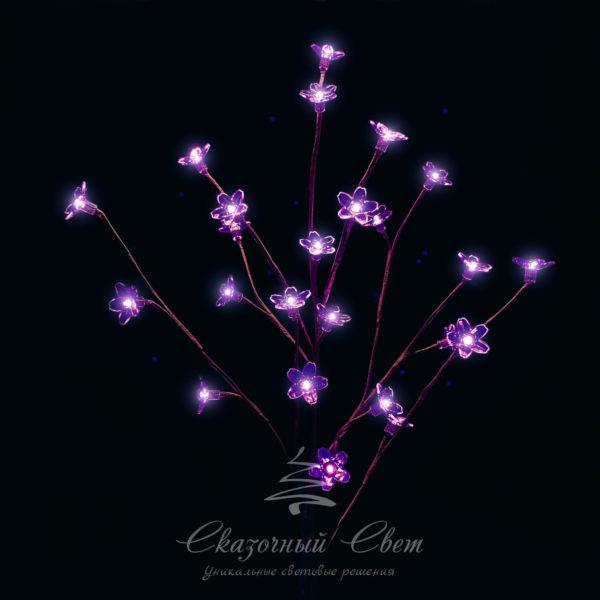 """""""Ветка Сакуры"""" на батарейках, прозрачные цветки длина 1 метр, коричневый провод, 24 led, пурпурный 1"""