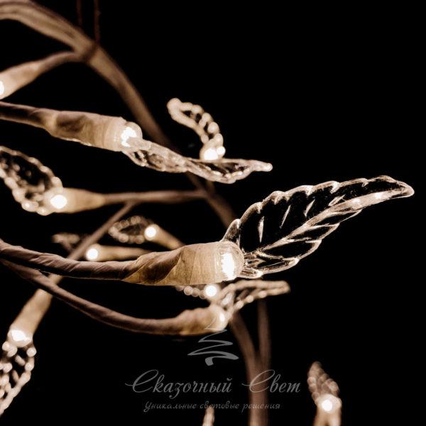 """Светодиодная композиция """"Ветка с листьями"""" прозрачные листья длина 1,8 м, белый провод, 48 led, теплый белый 2"""