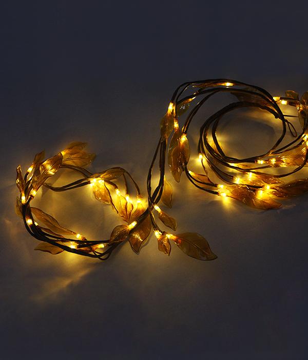 """Светодиодная композиция """"Ветка с листьями"""" коричневые листья длина 1,8 м, коричневый провод, 48 led, теплый белый 1"""