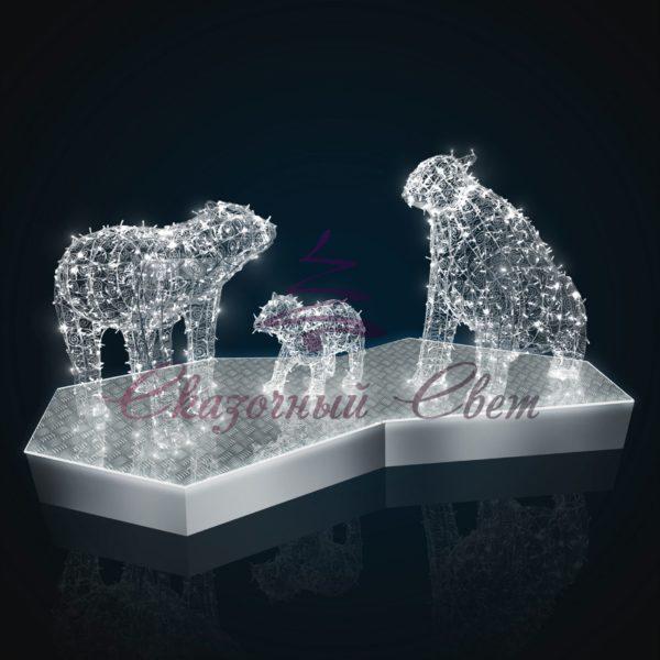 Светодиодная скульптурная композиция Белые медведи В 2,5 м х Ш 4,9 м х Г 2,3 м - OL 170 1