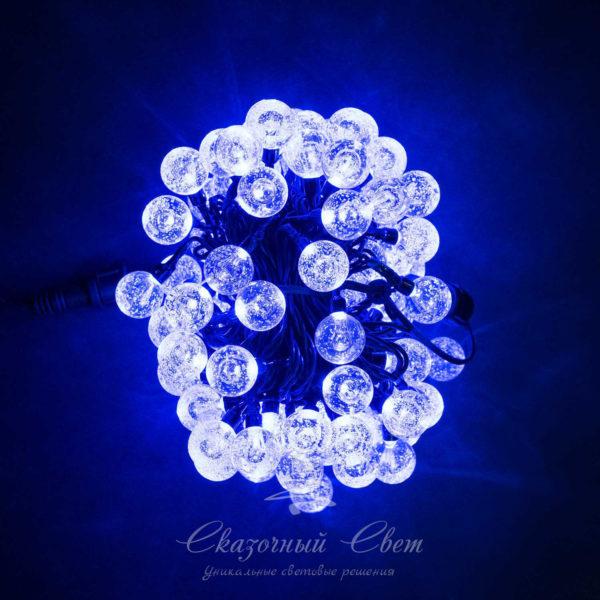 Светодиодная гирлянда Bubble Ball 10 м, черный провод, 100 led, синий 2