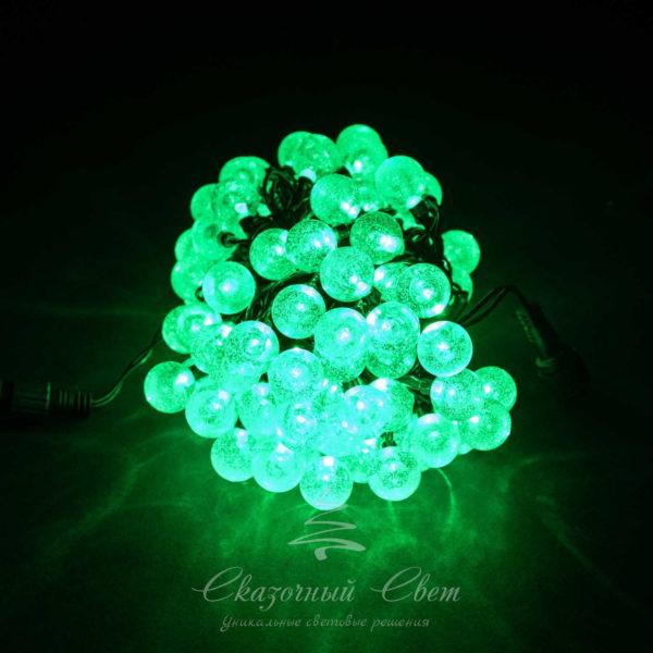 Светодиодная гирлянда Bubble Ball 10 м, черный провод, 100 led, зеленый 1