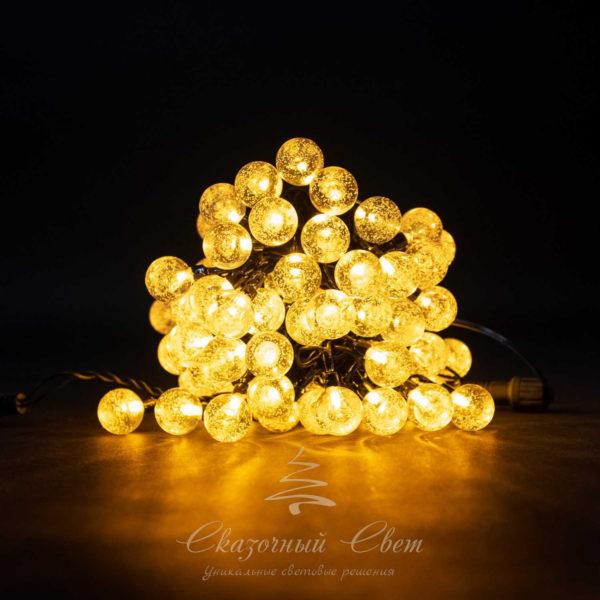 Светодиодная гирлянда Bubble Ball 10 м, черный провод, 100 led, желтый 1