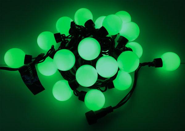 Светодиодная гирлянда Большие Шарики Rich LED, 4 см, 5 м, соединяемая, зеленая, черный провод 1