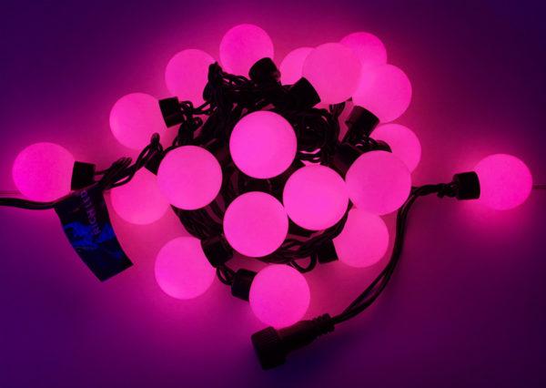 Светодиодная гирлянда Большие Шарики Rich LED, 4 см, 5 м, соединяемая, розовая, черный провод 1