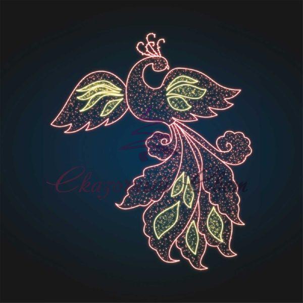 Световое новогодее панно Сказочная Жар Птица RN 14 - Ш 2,60 м х В 3,00 м 1