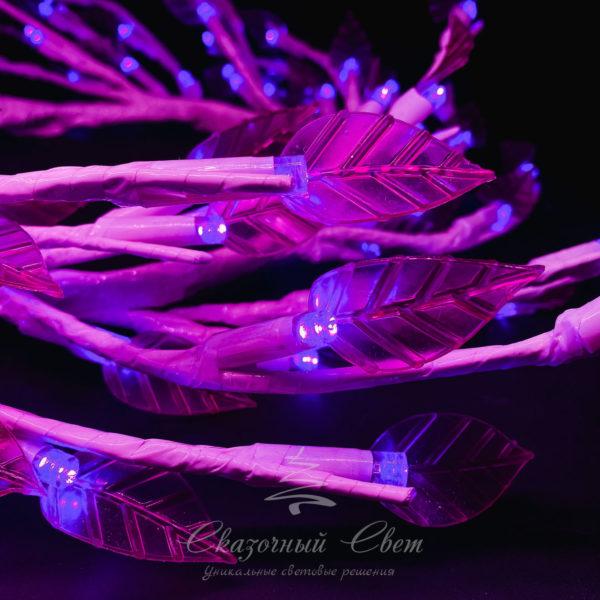 """Светодиодная композиция """"Венок с листьями"""", прозрачные листья диаметр 50 см, белый провод, 80 led, пурпурный 2"""