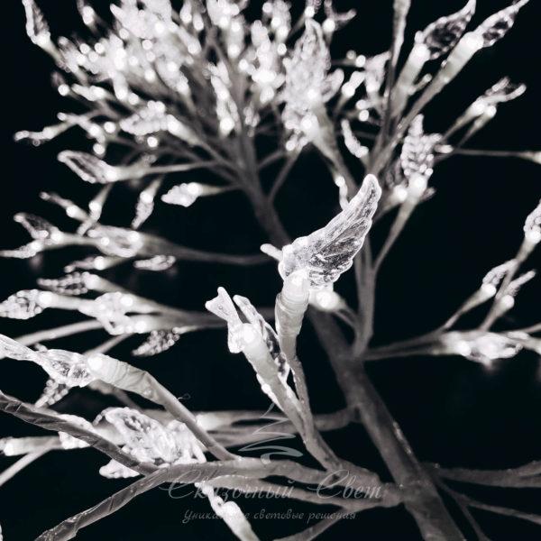 """Светодиодная композиция """"Ветка с листьями"""", прозрачные листья длина 3 м, белый провод, 144 led, белый 4"""